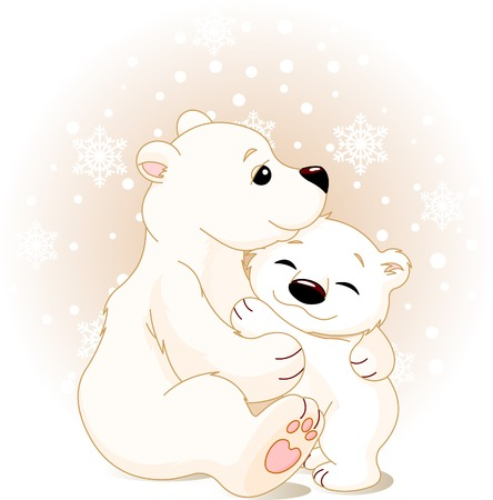 baby and mother: Winter day. Snowing. Mother bear hugging her baby Illustration