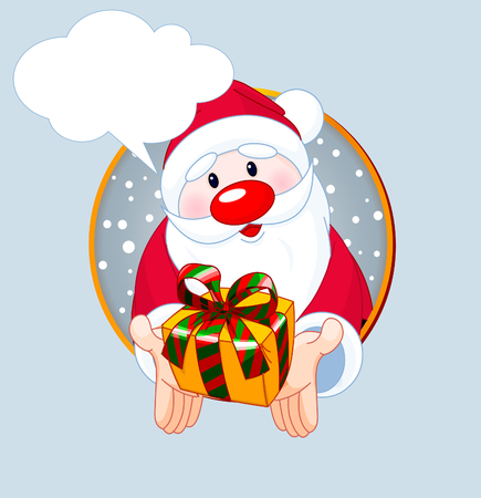 Christmas greeting card with Cute Santa Claus giving a gift