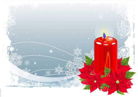 candle: Red Christmas Candle with Poinsettias on Christmas snowing background Illustration