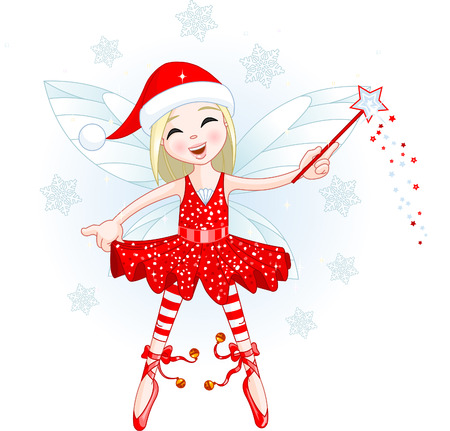 Cute Christmas fairy flying . All objects are separate groups Illustration