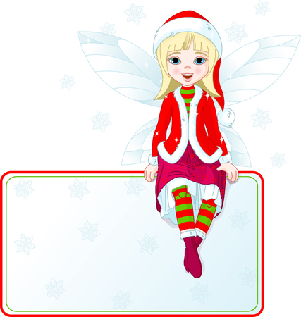 Little Christmas fairy sitting on place card. All objects are separate groups