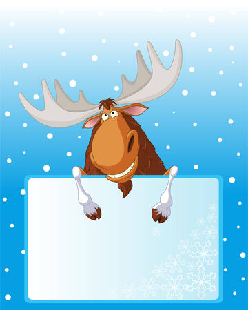 Funny moose holding place card for your winter greetings Ilustração