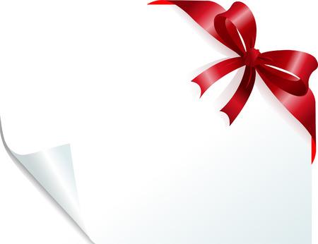 カール紙に赤いリボンでページ コーナー。テキストのコピーを配置します。