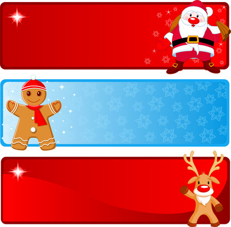 Vector Christmas Banners with Santa Claus, Gingerbread and Rudolf Vector