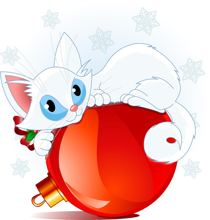 A cute white cat lying on a Christmas ball.
