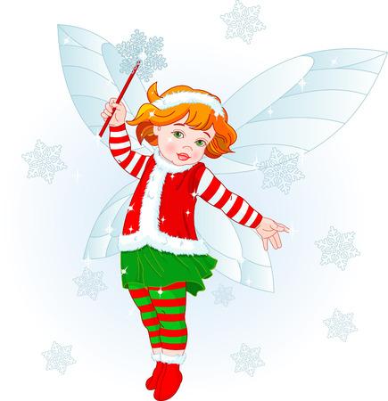 Vector illustration of a Christmas baby fairy Illustration