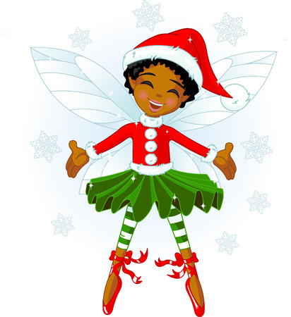 Cute Christmas fairy flying in the snowing sky