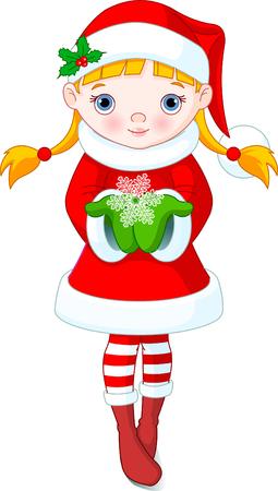 cute girl: Cute little girl holding a beautiful Snowflake