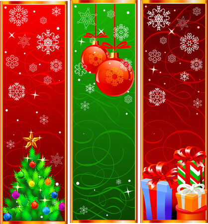 Vector Christmas Banners with snowflakes and decorations Ilustrace