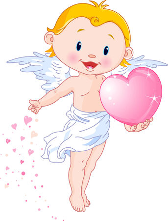 Vector illustration of Cute Cupid giving a heart