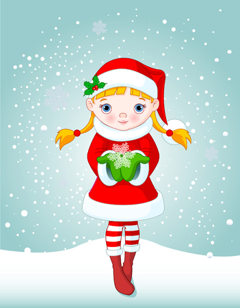 christmas celebration: Cute little girl holding a beautiful Snowflake on snowing background Illustration