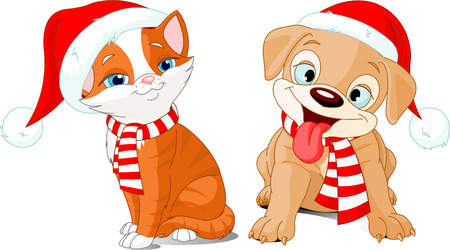 puppy and kitten: Vector illustration of Christmas cartoon puppy and kitten