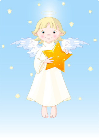 Cute Angel with Christmas star in his hands. All levels are separate. Vector