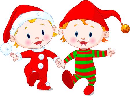 positivism: Dos beb�s lindos con trajes de Navidad