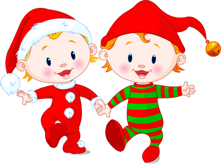 christmas cute: Two cute babies with Christmas costumes