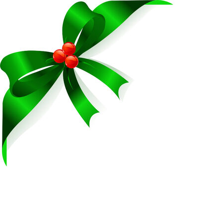 ribbon: Page corner with green ribbon and bow. Place for copytext.