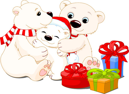 osos navideños: Una mamá y papá se llevan con su oso de bebé.