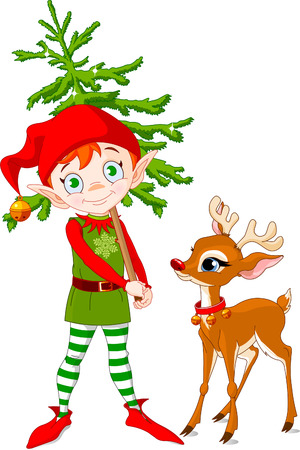 Rudolf and Cute Christmas elf hording Christmas tree Vector