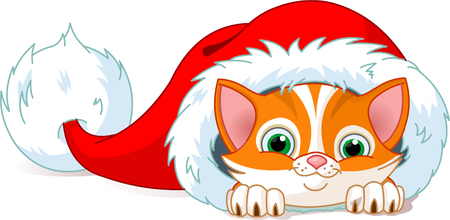 Cute red kitten in Santa's Hat. Vector illustration