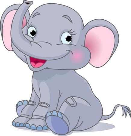 Very Cute baby olifant vergadering en glimlachen