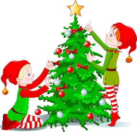 クリスマス ツリーを飾る 2 つのかわいいエルフ  イラスト・ベクター素材