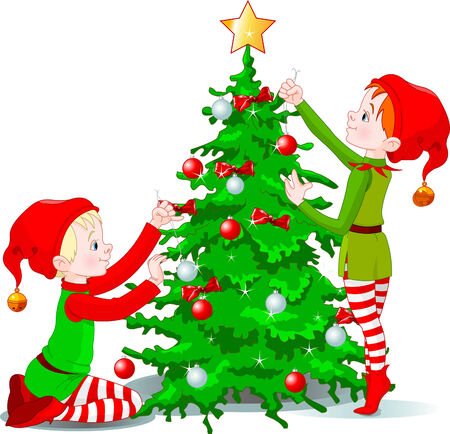 Two cute elves decorating a Christmas tree