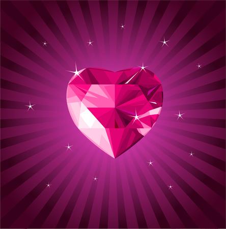 Shiny crystal love hearts on radial background Illustration