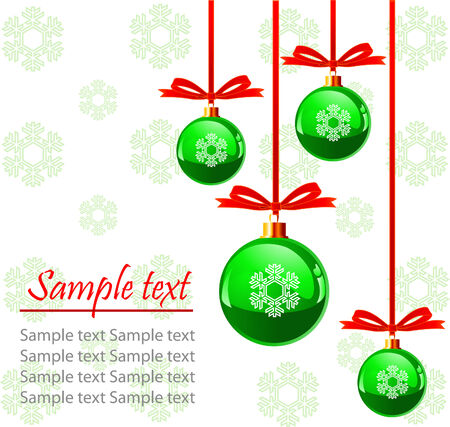 Christmas green balls with bows colors, isolated over white background with place for copyspace
