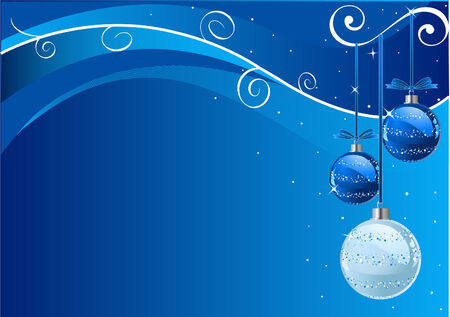 Blue Abstract Vector Christmas Background with balls  Illustration