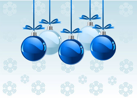 Christmas  balls with bows over snowflakes  background with place for copyspace