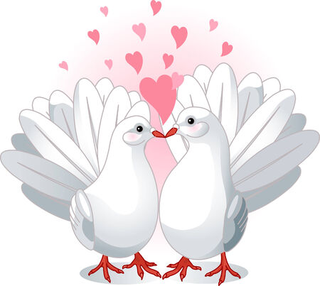 Illustration of two white doves pressing together and forming a heart shape Vector
