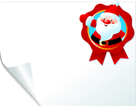 Christmas Santa emblem on curled paper. Place for copytext. Vector