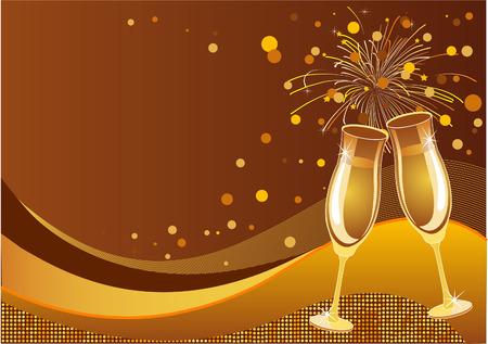 輝く新しい年の大晦日の祭典ベクトル背景  イラスト・ベクター素材