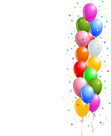 red balloons: Realistic vector illustration of a shiny balloons border Illustration