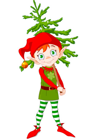 Illustration of Cute Christmas elf hording Christmas tree Stock Vector - 6089832
