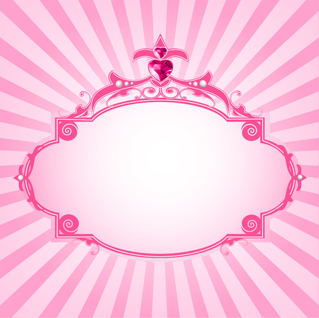 queens birthday: Lovely princess pink frame. Perfect for beautiful girls Illustration