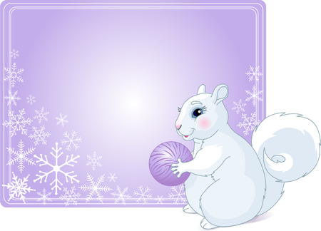 Place card with  Illustration of fat winter squirrel and nut for your winter greetings Stock Vector - 6089836