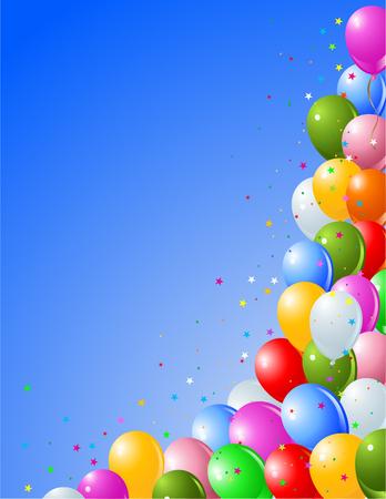 Party Blue ballonnen op een blauwe achtergrond