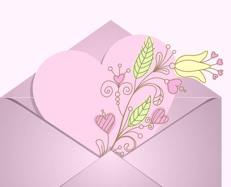 Pink heart and flowers sign in the envelope
