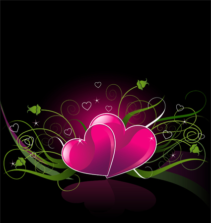 Vector illustration of hearts on a dark background