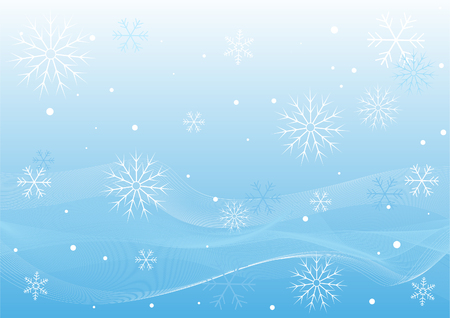 wintery: Pretty Winter Blue Background Of White Waves, Snow And Snowflakes