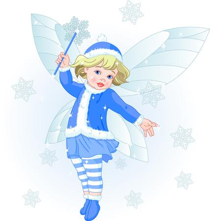Vector illustration of a Winter baby fairy Illustration