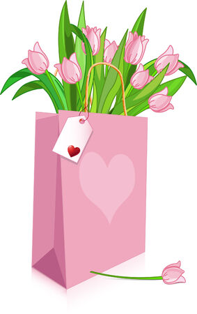 Pink Tulips in a bag with heart (space for message) Vector