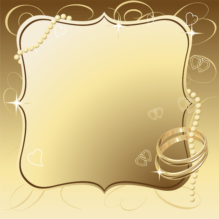 Illustrated vector Beautiful Wedding Rings Frame Background Vector