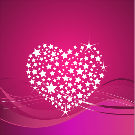 Shining vector Valentine's Day  background with glitter heart Vector