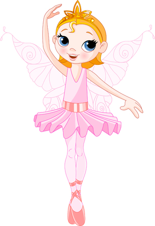 Vector Illustration of Little Cute dancing Fairy Ballerina
