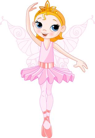 queens birthday: Vector Illustration of Little Cute dancing Fairy Ballerina