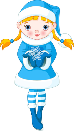 Winter little girl holding a beautiful Snowflake  Vector