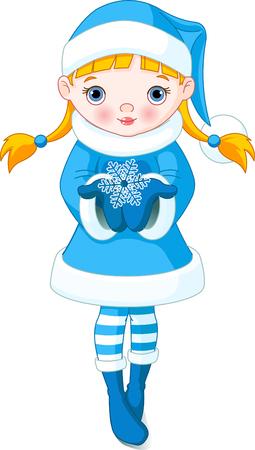 winter: Winter little girl holding a beautiful Snowflake