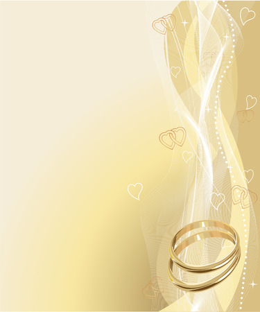 Illustrated Beautiful Wedding rings Background with place for copyext  Stock Vector - 6161354